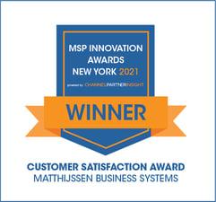 MSP Innovation Awards NY 2021 - WINNER in Customer Satisfaction