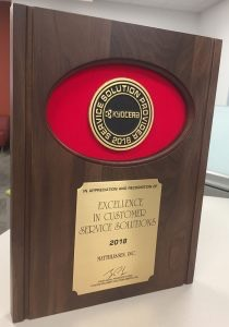 Kyocera's 2018 Service Solution Provider Award for recognition of Excellence In Customer Service Solutions