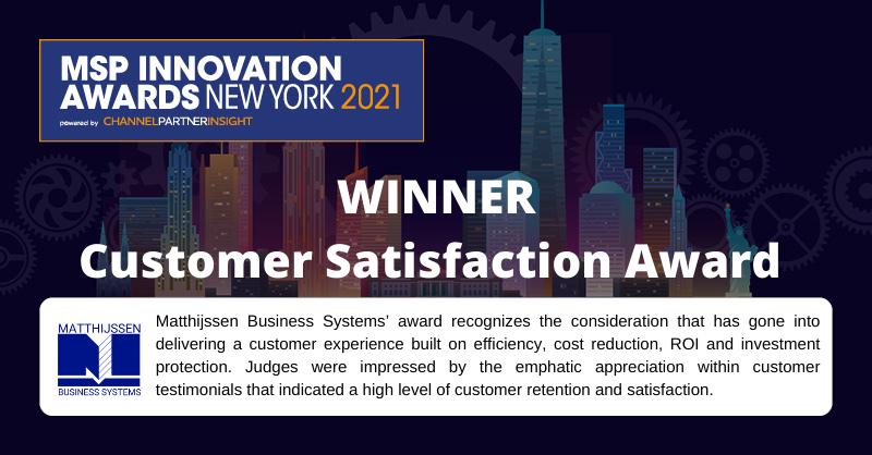 WINNER Customer Satisfaction Award