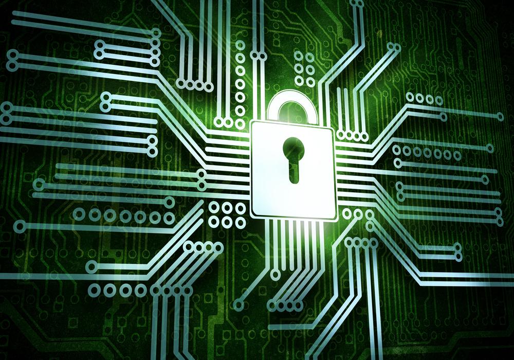 Conceptual image of micro circuit. Security concept